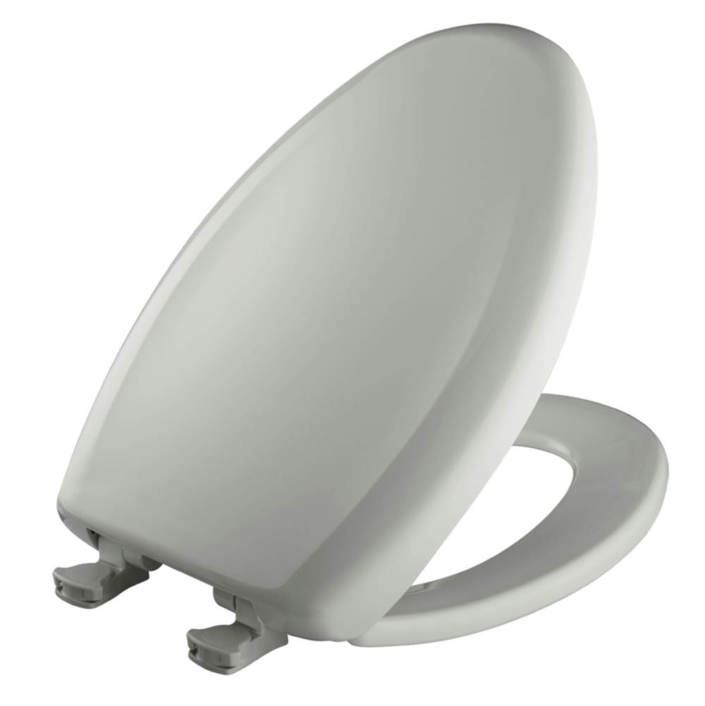 Bemis Elongated Plastic Toilet Seat in Ice Grey with STA-TITE Seat Fastening System, Easy-Clean & Change and Whisper-Close Hinge
