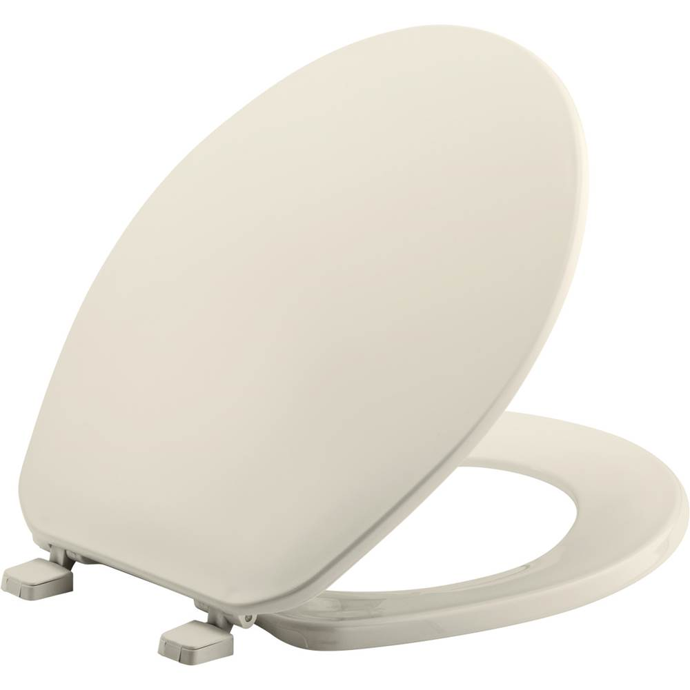 Bemis Round Plastic Toilet Seat in Biscuit with Top-Tite Hinge