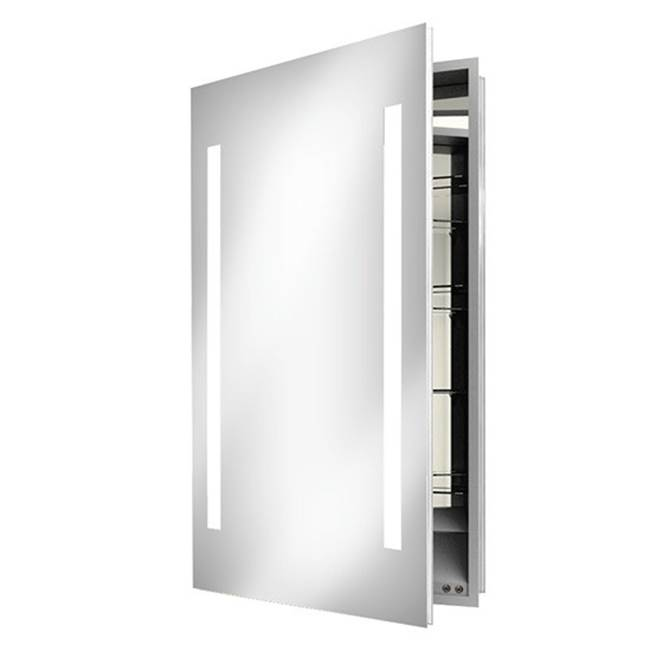 Electric Mirror Ascension 23.25w x 30h Lighted Mirrored Cabinet with Keen - Left hinged