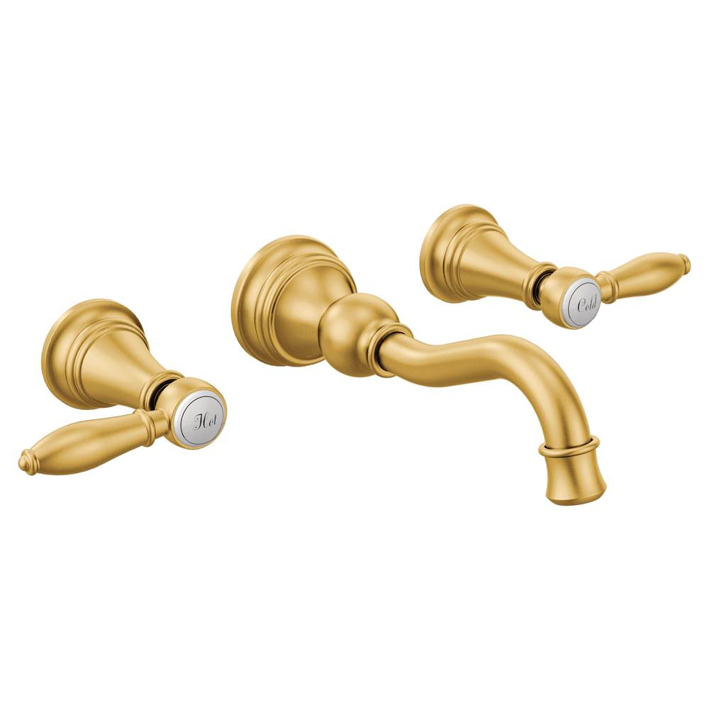 Moen Brushed gold two-handle wall mount bathroom faucet
