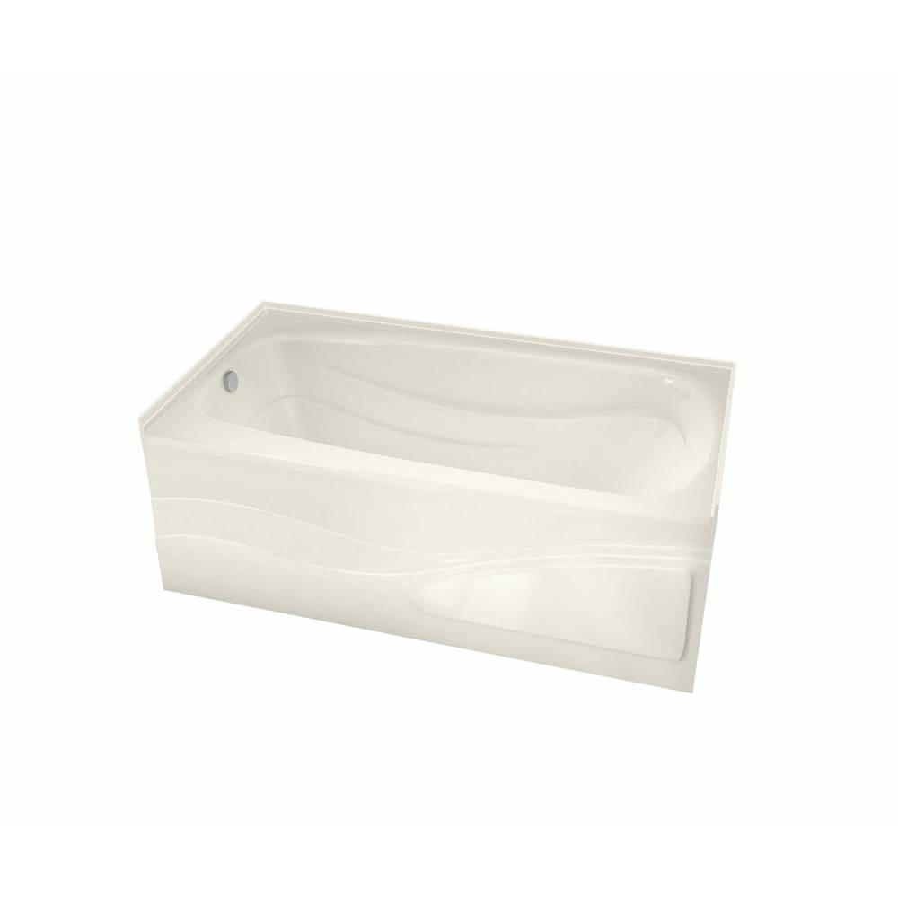 Maax Tenderness 59.875 in. x 35.75 in. Alcove Bathtub with Whirlpool System Right Drain in Biscuit