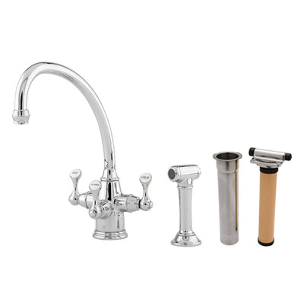 Rohl Perrin & Rowe® Georgian Era Filtration Kit 3-Lever Kitchen Faucet With Sidespray with Lever Handles in English Bronze