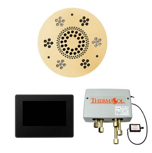 Thermasol The Wellness Shower Package with 7'' ThermaTouch Round Polished Gold