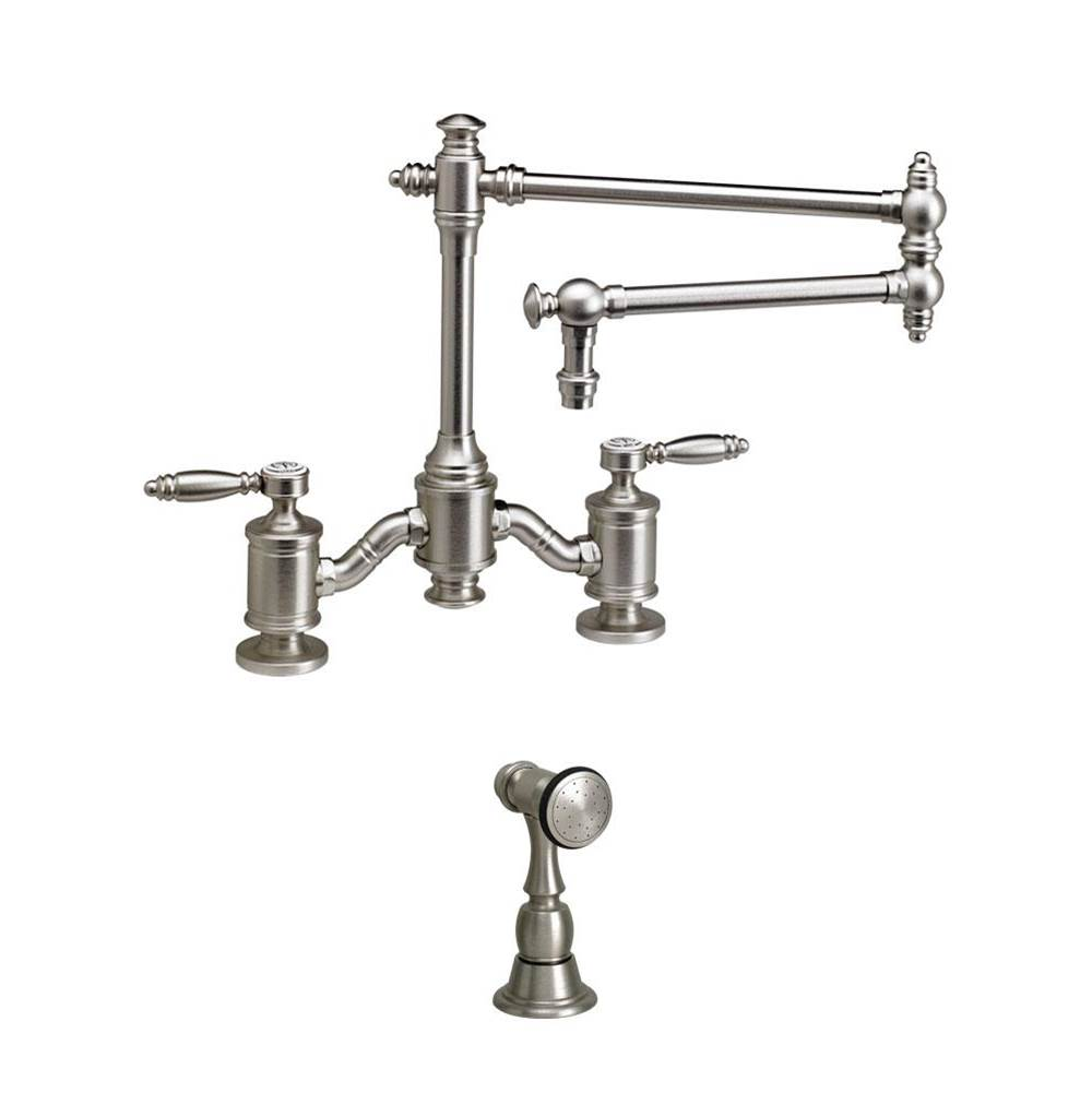 Waterstone Towson Bridge Faucet - 18'' Articulated Spout - Lever Handles W/ Side Spray